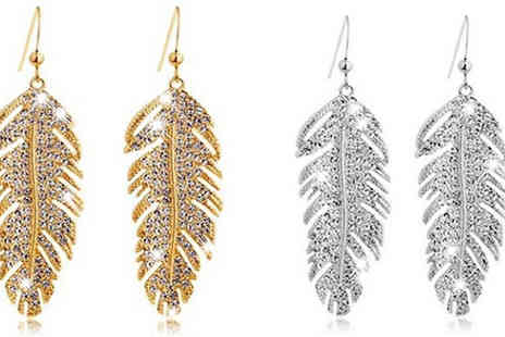 Jewleo - Feather Rhinestone Earrings Gold or Silver - Save 83%