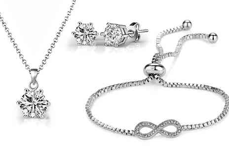 Groupon Goods Global GmbH - One or Two Infinity Friendship Sets with Crystals from Swarovski - Save 75%