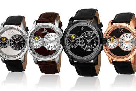 Groupon Goods Global GmbH - Joshua and Sons Mens Dual Time Watch with Leather Strap - Save 89%