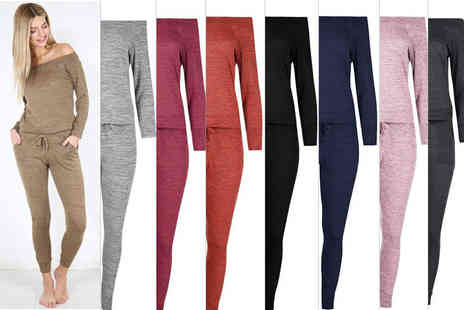 Be Jealous - Ladies off the shoulder tracksuit choose from six colours - Save 75%