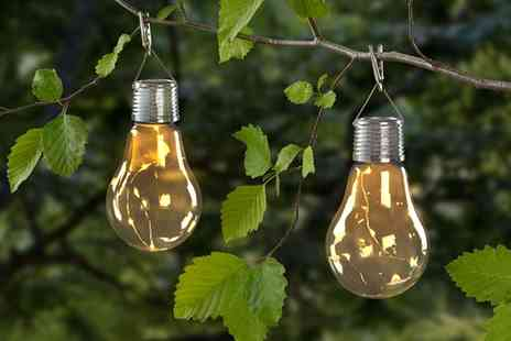 Groupon Goods Global GmbH - Set of Two or Four Bulb Shaped Solar Lights - Save 60%