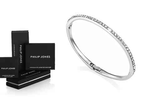 Groupon Goods Global GmbH - Philip Jones Single Row Bangle with Crystals from Swarovski - Save 72%