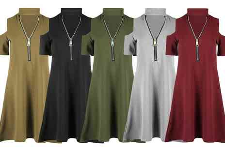Groupon Goods Global GmbH - Zip Front Cold Shoulder Swing Dresses Available Up to Size 26 - Save 60%