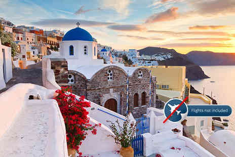 Blue Diamond Bay Hotel - Three night Santorini stay for two with a carafe of wine - Save 69%