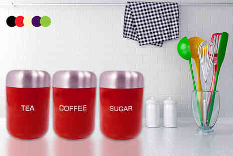 direct2publik - Three colourful storage jars for coffee, tea and sugar, upgrade to stainless steel jars - Save 80%