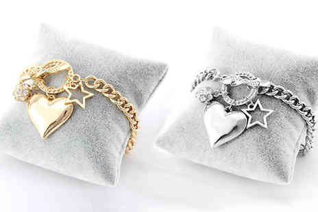 Jewleo - Heart Charm Bracelet in 2 Colours - Save 83%