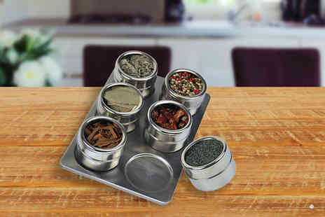 london exchainstore - 6 Piece Magnetic Spice Jar With Rack - Save 64%