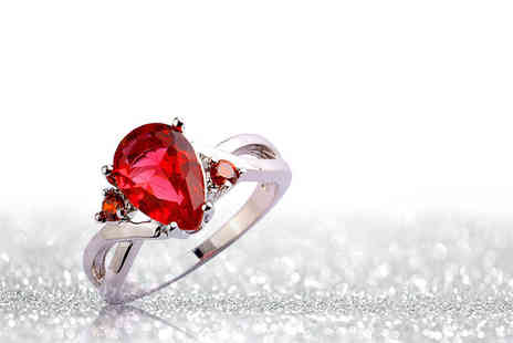 Girly Glitz - Red cubic zirconia ring - Save 94%