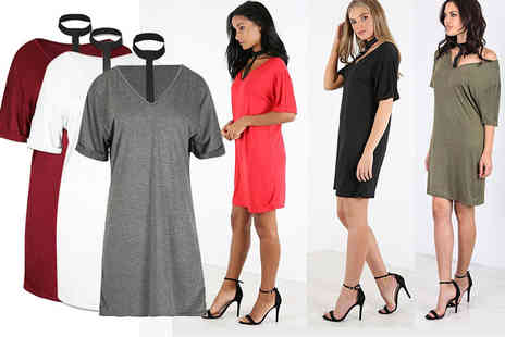 Blue Maas ltd t/a Be Jealous - Choker Tshirt dress choose from six colours - Save 67%