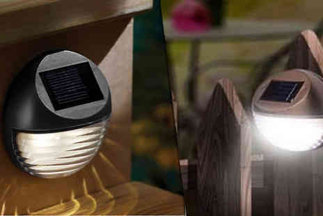 eBuzz - LED Solar Wall Lights 2, 4 or 8 - Save 50%