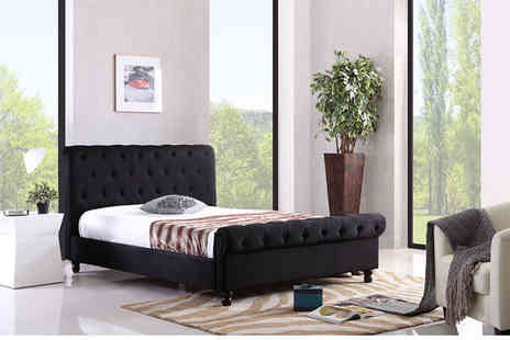 jia Interiors - Double or king chesterfield fabric bed frame in brown or black - Save 61%