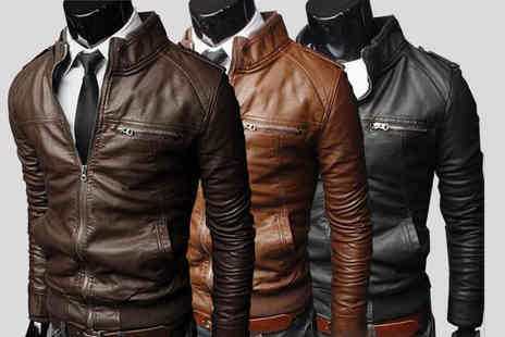 EF Mall - Mens casual faux leather jacket choose from three colours - Save 85%