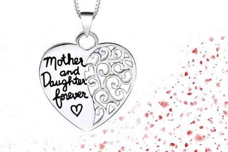 Solo Act - One mother and daughter heart necklace - Save 76%