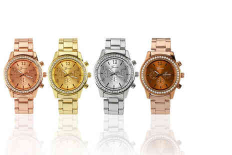 Solo Act - Geneva boyfriend crystal watch choose rose, silver, gold or coffee - Save 81%