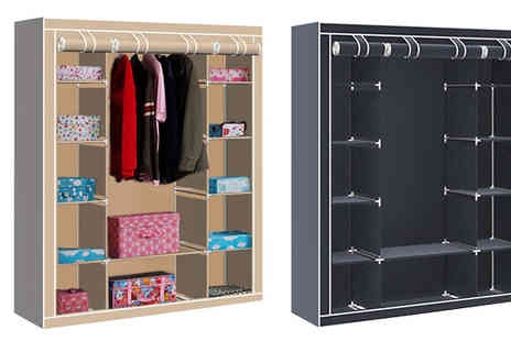 Comxuk - Heavy Duty Canvas Wardrobe in 6 Colours - Save 75%