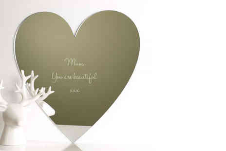 Mungai Mirrors - Engraved Mothers Day mirror in heart, circle or butterfly shape - Save 59%