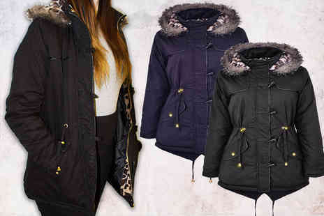 Angel Fashions - Faux fur hooded parka coat - Save 23%