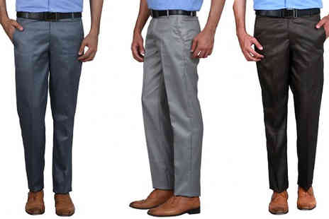 Hawt Online - Three Pack of Mens Slim Fit Trousers Five Sizes - Save 64%