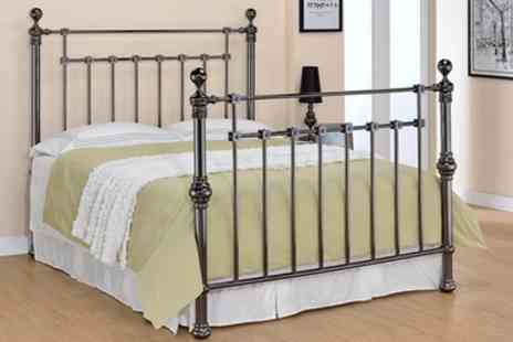 Groupon Goods Global GmbH - York Black Nickel Bedframe with Optional Mattress Include Free Delivery - Save 37%