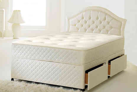 Desire Beds - Single diamond tufted cool blue sprung mattress - Save 84%