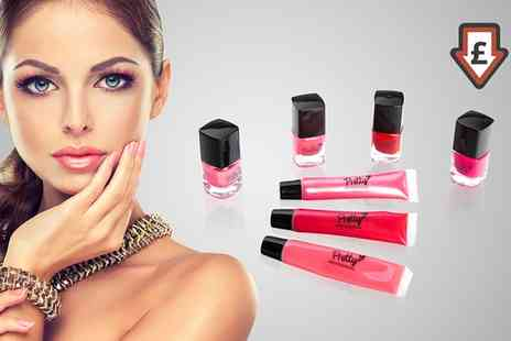Groupon Goods Global GmbH - One or Two Pretty Lip Gloss and Nail Polish Gift Sets - Save 78%