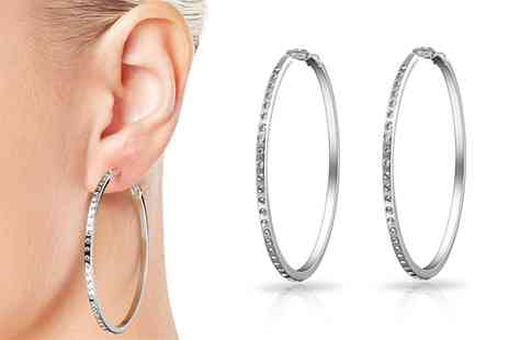 Groupon Goods Global GmbH - One or Two Pairs of 50mm Hoop Earrings with Crystals from Swarovski - Save 70%