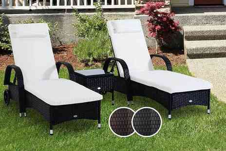 MHStar Uk - Three piece rattan furniture set including two sun loungers and a table choose black or brown - Save 53%