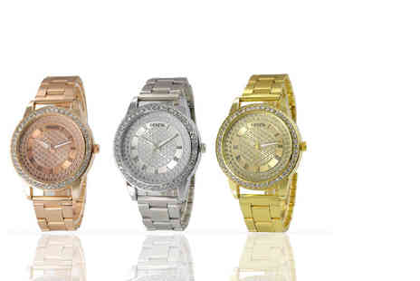 Solo Act - Womens Geneva crystal Mia watch choose from three fab colours - Save 83%
