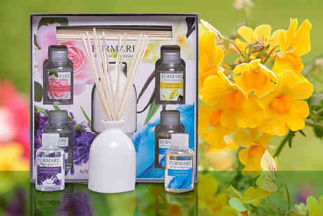 Ckent - Fragrance diffuser vase with reed sticks and four fragrances - Save 63%