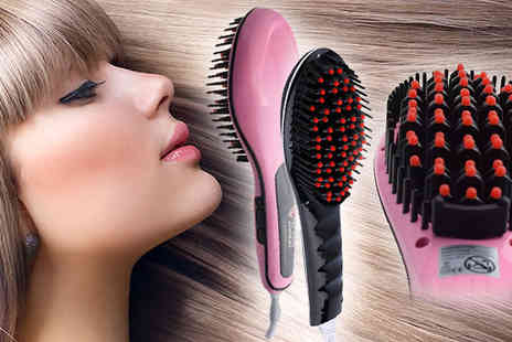 Hair Extension Lovers - Anionic Hair Straightening Brush Available in Black or Pink - Save 88%