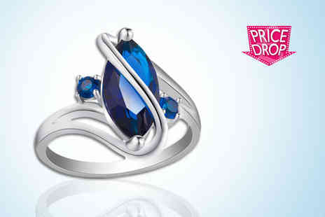 Your Ideal Gift - Blue crystal ring - Save 92%