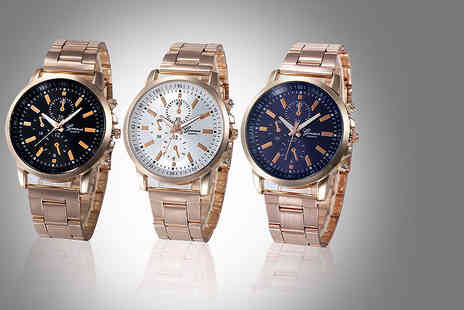 Solo Act - Rose gold geneva crystal bae watch choose from three designs - Save 83%