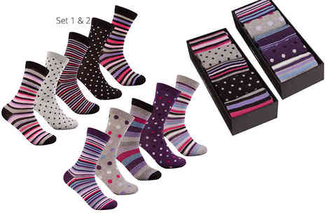 Treats on Trend - Five pairs of Cottonique womens socks choose from four sets of striped and argyle or striped and dotted pairs - Save 58%