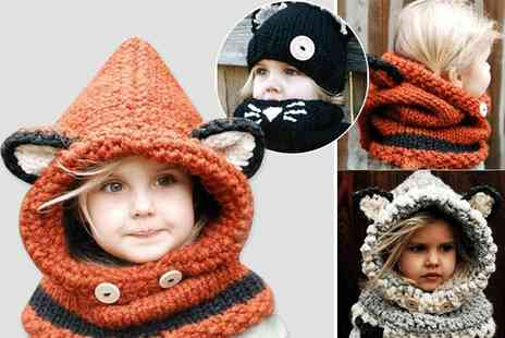 EF Mall - Kids hooded scarf choose from orange and light grey - Save 78%