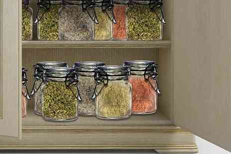 Eurotrade - 12 glass clip top herb jars - Save 80%