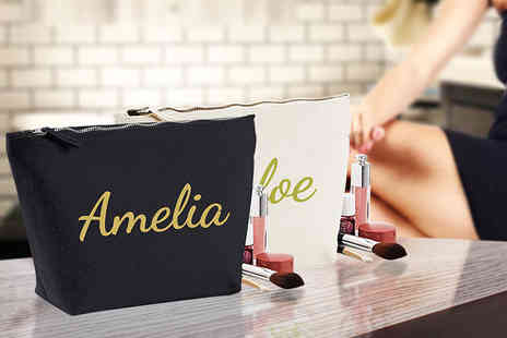 Treats on Trend - Personalised makeup bag choose black or beige, add up to ten characters - Save 60%