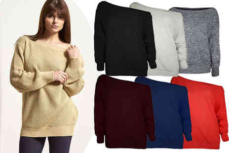 Blue Maas - Chunky off shoulder oversized jumper choose from seven stylish colours - Save 59%