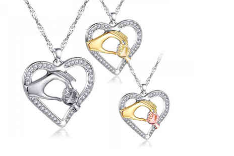 Your Ideal Gift - A mother and child necklace made with crystals from Swarovski choose from three colours - Save 89%