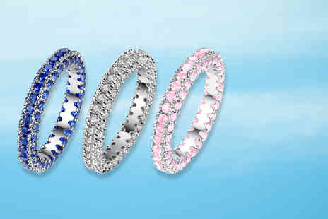 Your Ideal Gift - Rhodium plated eternity ring select from three colours - Save 94%