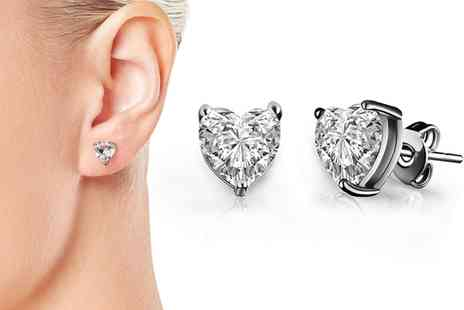 Groupon Goods Global GmbH - One or Two Pairs of Heart Earrings Made with Crystals from Swarovski - Save 67%