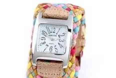 Smart Lass - Candy Coloured Leather Braided Watch - Save 52%