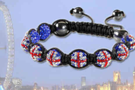 Shamballa UK - Crystal beaded Union Jack Shamballa bracelet, including free delivery - Save 81%