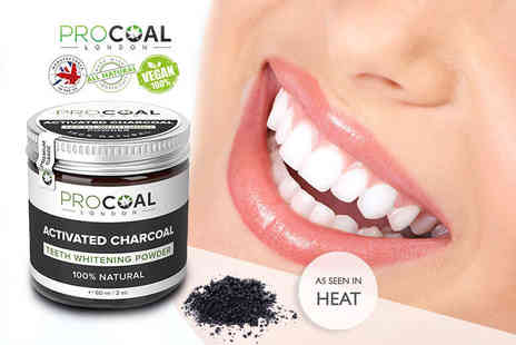 Bayagan Group - 60ml tin of 100% natural activated charcoal teeth whitening powder - Save 65%