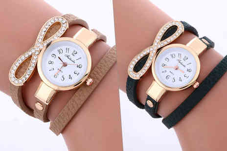 Solo Act - Ladies infinity crystal wrap watch choose from four colours - Save 80%