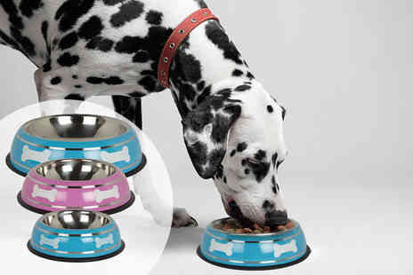 LaRoc - Small, medium or large stainless steel non slip dog bowl - Save 43%