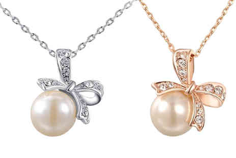 Jewleo - Simulated Pearl Bow Necklace Two Styles - Save 86%