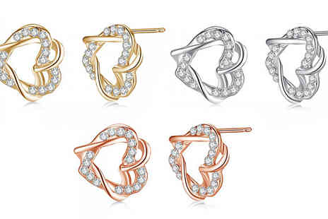 Your Ideal Gift - Gold Plated Twisted Heart Earrings in 3 Colours - Save 79%