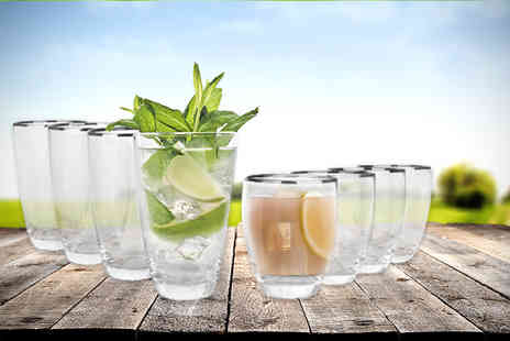 Dinner Warehouse - Four hi ball glasses and four tumblers with platinum rims - Save 60%