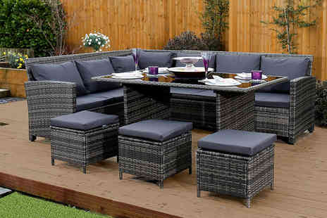 ATR Wholesale - Nine seater rattan corner garden sofa and dining table set - Save 61%