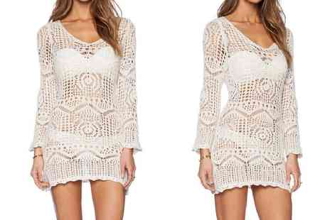 Groupon Goods Global GmbH - Beige Crochet Beach Cover Up - Save 0%
